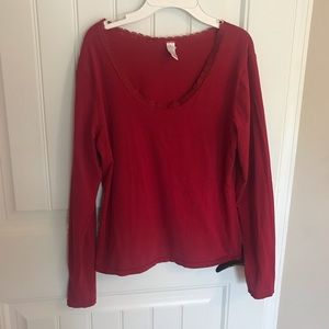 GAP body red long sleeve shirt with lace at neck